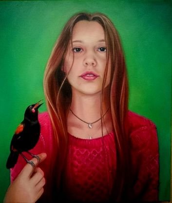 Entry to Clifton's Art Prize 2016 ​Ebony (my niece) with a rare native NZ bird, the Saddleback, is an imagined scenario where the girl oozes confidence having this bird land on her hand and the bird is also confident in it's safety with Ebony